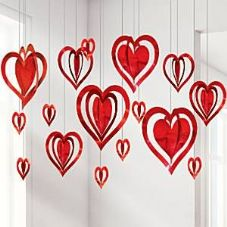 3 D Hanging Heart Decorations